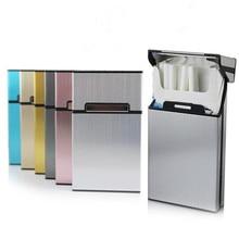 Aleación de aluminio Madam Thin Cigarette Case Tobacco Holder caja de bolsillo para mujeres Almacenamiento de cigarrillos contenedor accesorios para fumar