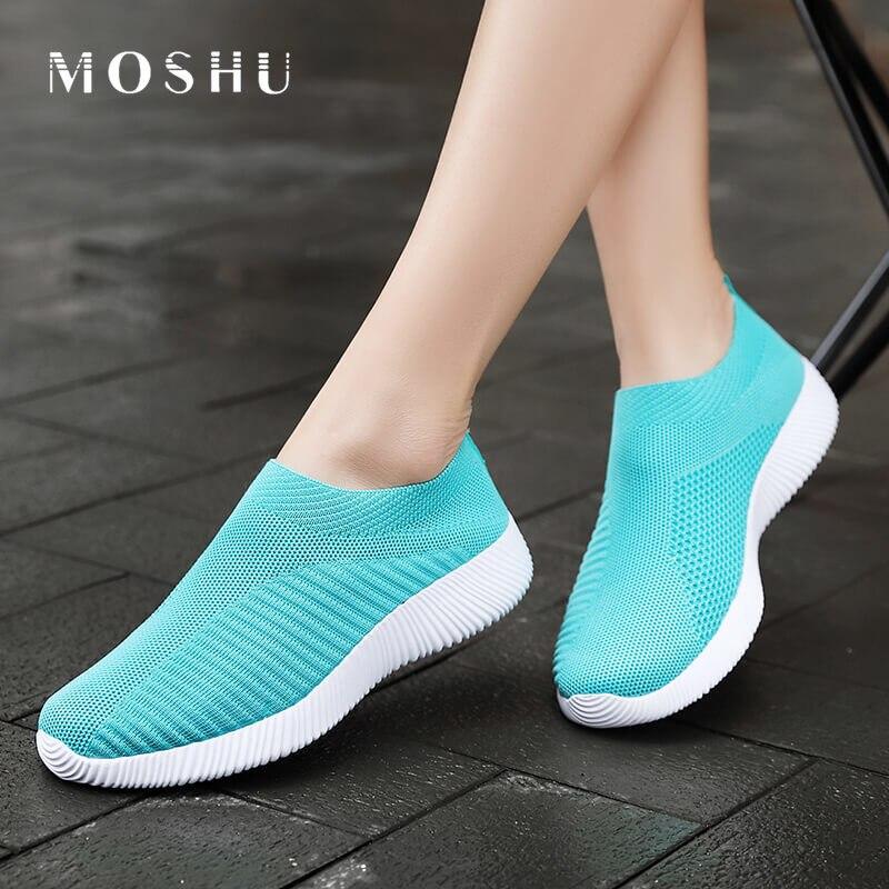 Moshu 2020 Women Sneakers Vulcanized Shoes Sock Sneakers Women Summer Slip On Flat Shoes Women Plus Size Loafers Walking Flats