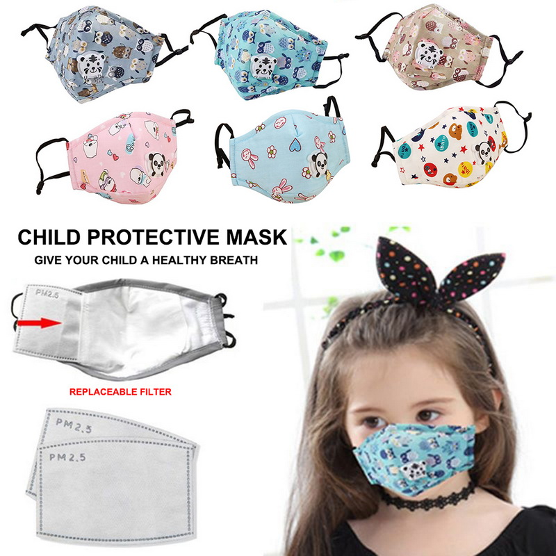 Child Protective Mask Breath Filter PM2.5  Activated Carbon Air Purifying Face Mask Respirator Kids Dust Mask Reusable