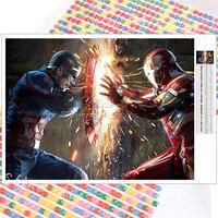Kit de pintura de diamantes de Los vengadores de Marvel, bordado de mosaico completo cuadrado redondo, regalo de Navidad para el hogar, Iron Man, Capitán América, 5D