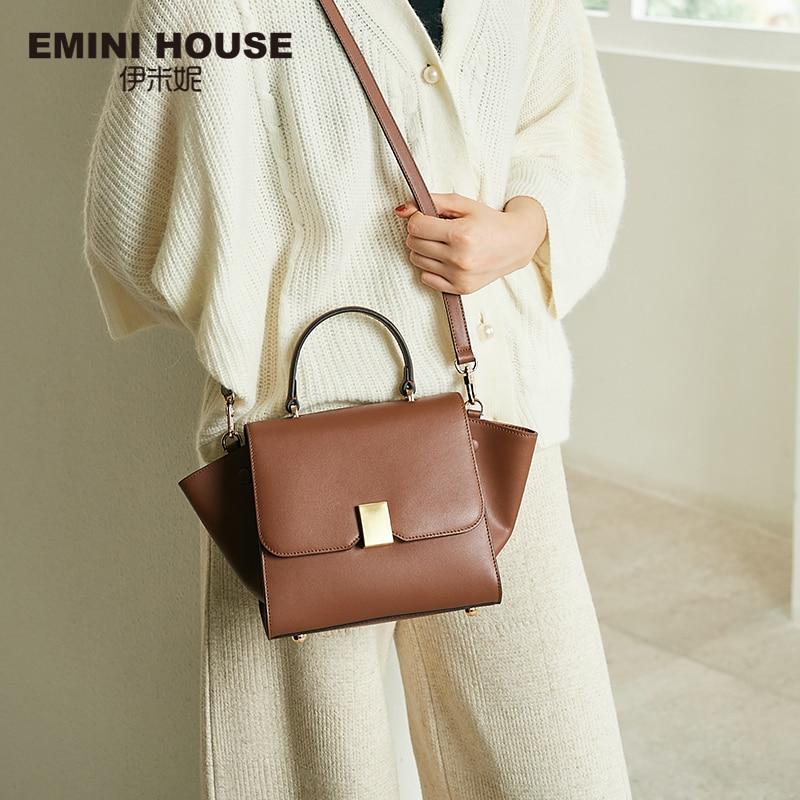 EMINI HOUSE Padlock Trapeze Handbag Split Leather Luxury Handbags Women Bags Designer Crossbody Bags For Women Shoulder Bag