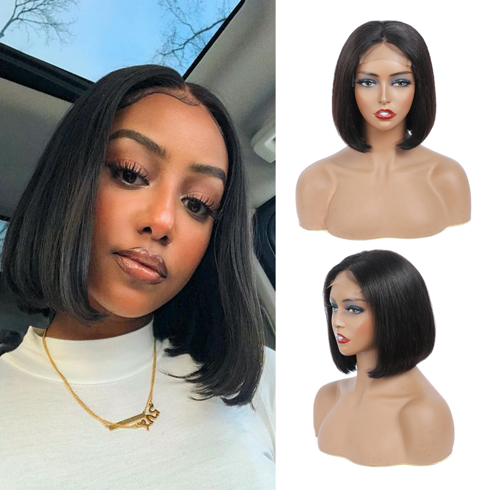 4x4 Bob Lace Closure Wig Indian Straight  for Black Women Straight Bob Lace Front  Wigs Blunt Cut Bob Wig 1