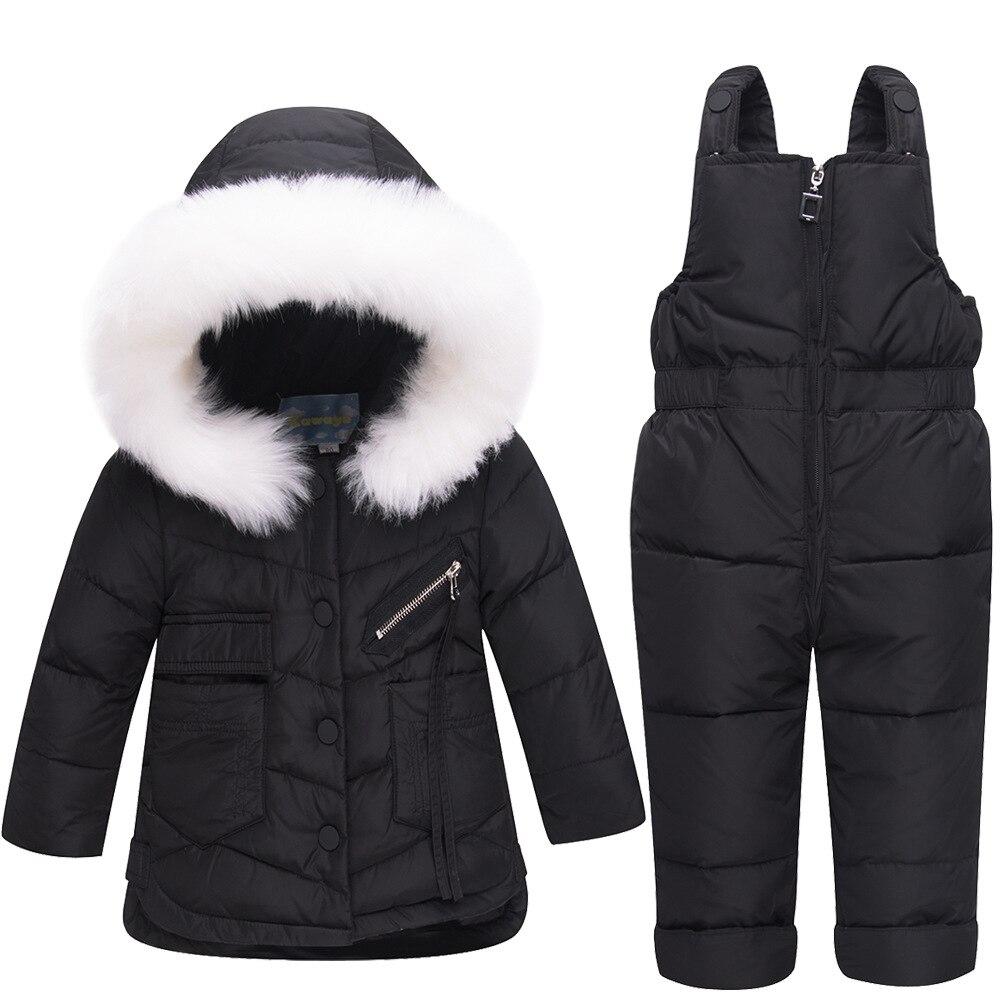 -30 degrés solide à capuche blanc canard doudoune vêtements de neige enfants costume manteau salopette épaissir chaud pardessus pour 1-3 Y vêtements ensemble