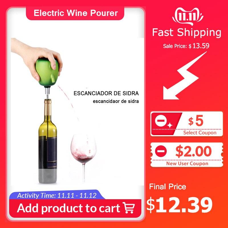 Pompe à décanteur de cidre de verseur de vin électrique conception de forme de pomme accessoires de ventouse d'acier inoxydable de catégorie comestible Pour la barre à la maison