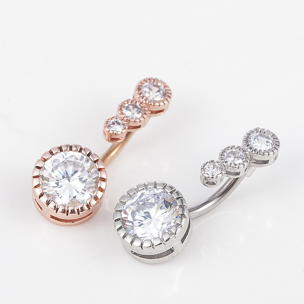 Belly-Button-Rings Accessories Navel Crystal Body-Jewelry Barbell Women Dangling Surgical-Steel