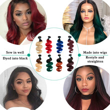 SEXAY Ombre Brazilian Hair Weave Bundles 1b/27 Burgundy 99J Green Red Blue Orange Pre-colored Human Hair Bundles Remy Extensions(China)