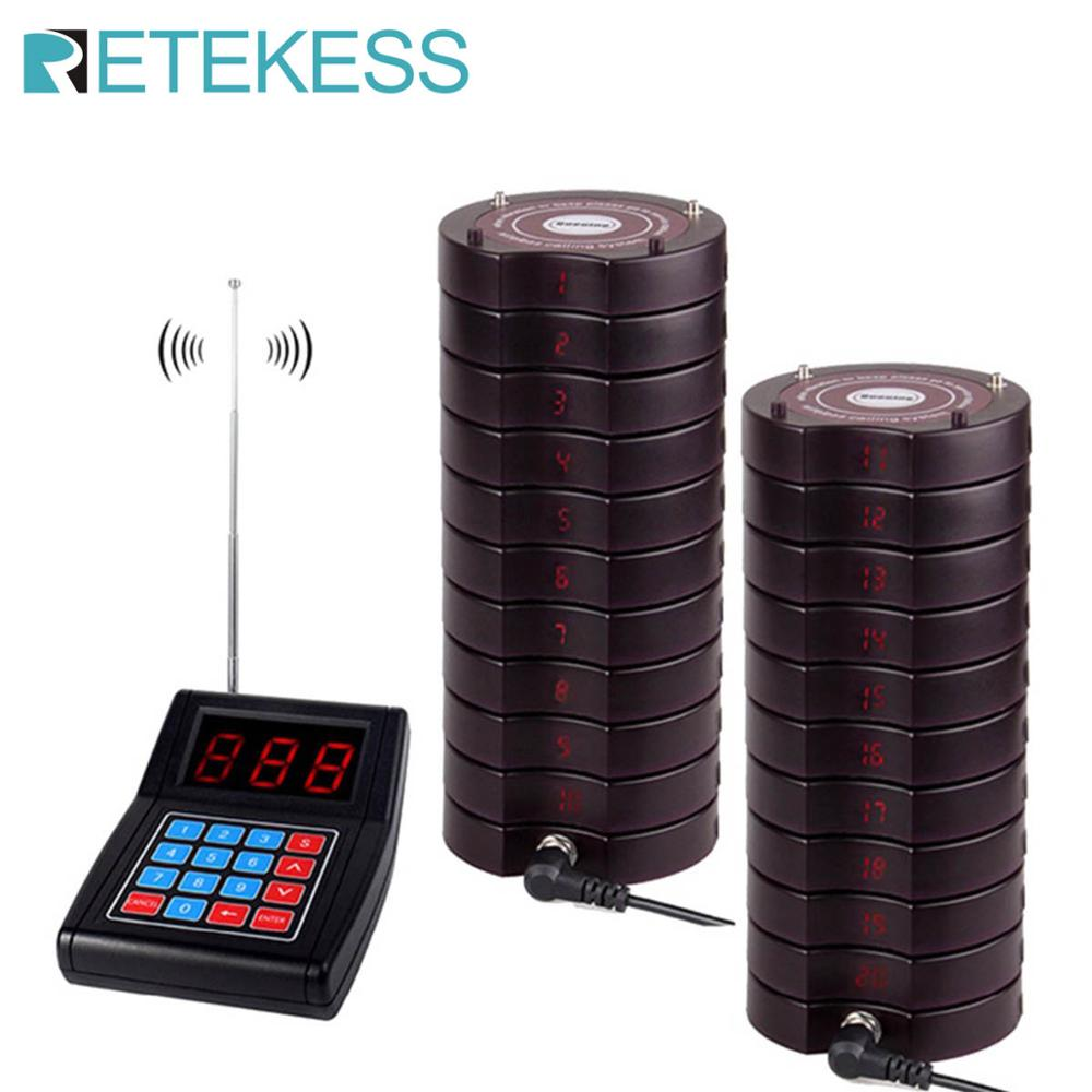 RETEKESS Restaurant Pager Wireless Paging Queuing System 20 Coaster Pagers Restaurant Equipments Call Customer For Restaurant