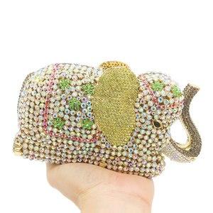 Image 2 - Женская сумка кошелек Boutique De FGG, с золотыми кристаллами и 3d рисунком слона, металлическая, для свадебного и выпускного бала