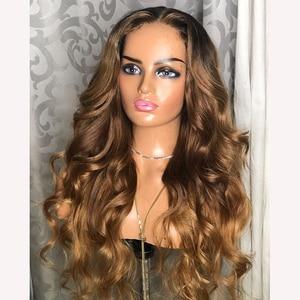 Шоколад Грейс волна глубокий часть 26 дюймов 13x6 шнурка человеческих волос парики с детскими волосами Синтетические волосы на кружеве парики...