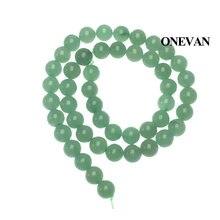 Натуральные зеленые авантюриновые бусины onwan Гладкий Круглый
