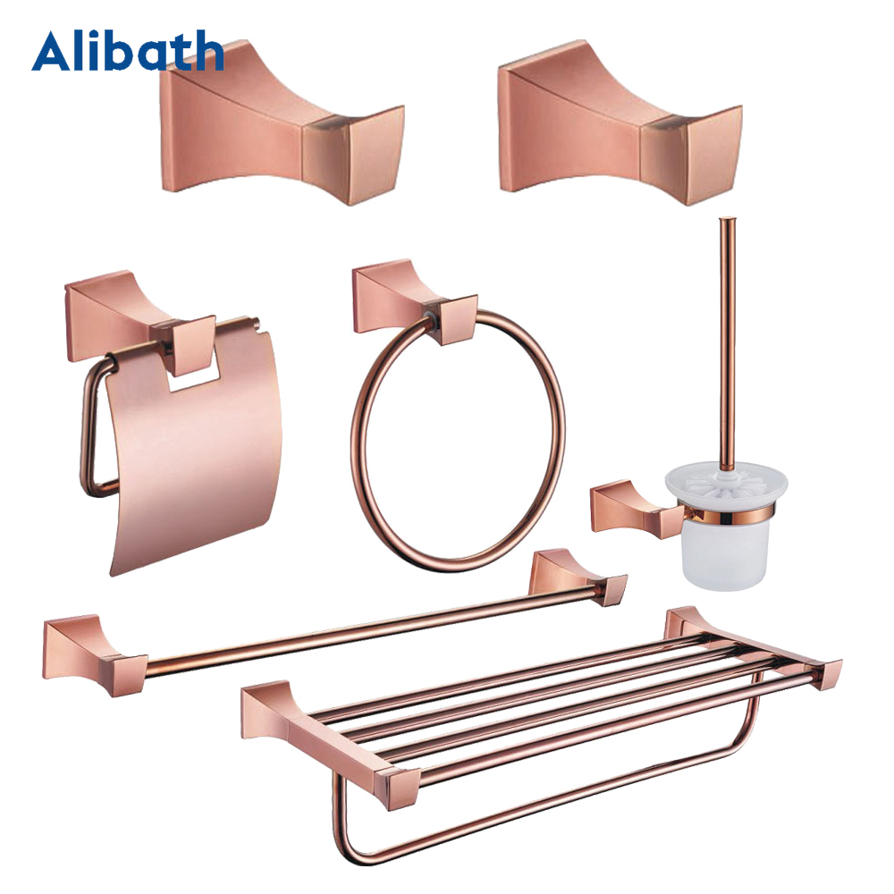Brass Toothbrush Holder Metal Rose Gold Brass Towel Shelf Soap Dish Wall Mounted Hair Dryer Rack Bathroom Towel Pendant Set. image