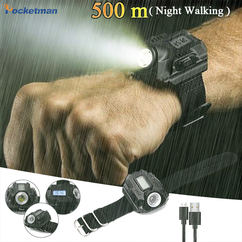LED Wristwatch Waterproof Flashlight Run Tactical Clock Light With Time Torch LED Display Built-in Battery For Walking