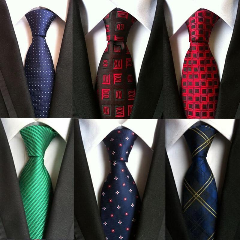 YISHLNE Hot 100% Silk Plaid Ties Gifts For Men Shirt Wedding Cravate Pour Homme Jacquard Woven Necktie Party Gravata Business