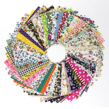 50pcs Assorted Sewing Square Floral Printed Cotton Cloth Sewing Quilting Fabric for Patchwork Needlework DIY Handmade Materials