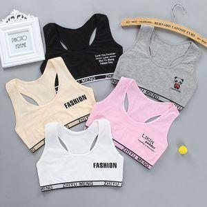 Junior Girl Racerback Cotton Sport Training Bra Letter Print Solid Color Wide Strap Underwear Bralette Seamless Layered Crop Top|Tanks & Camis|   -