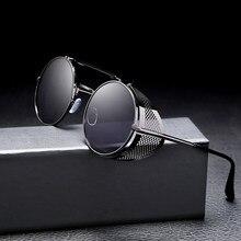 2020 metal redondo steampunk óculos de sol das mulheres dos homens moda marca designer retro frame vintage óculos uv400