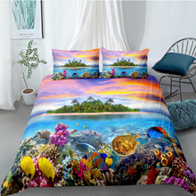 Marine Life Bedding Set Queen Size Island Fashionable Duvet Cover Dusk King Twin Full Single Double Unique Design Bed Set