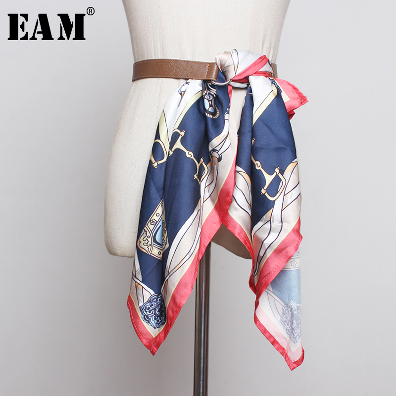 [EAM]  Pu Leather Scarf Split Joint Long Bandage Belt Personality Women New Fashion Tide All-match Autumn Winter 2019 1B381