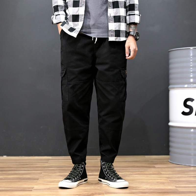 Korean New Casual Ankle Length Mens Jogging Cargo Pants Fashion Drawstring Waist Big Pockets Loose Plus Size Male Harem Pants