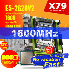 Atermiter X79 X79G материнская плата LGA2011Combos E5-2620 V2 E5 2620 V2 Процессор 4 шт х 4GB = 16 Гб DDR3 Оперативная память 1600 МГц PC3 12800R теплоотвод