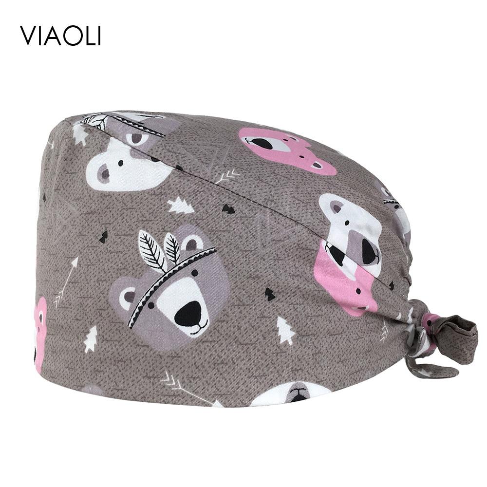 VIAOLI Print Black Tieback Elastic Section 100% Cotton Surgical Caps Scrub Caps For Men Women Hospital Medical Hats Arrival 060