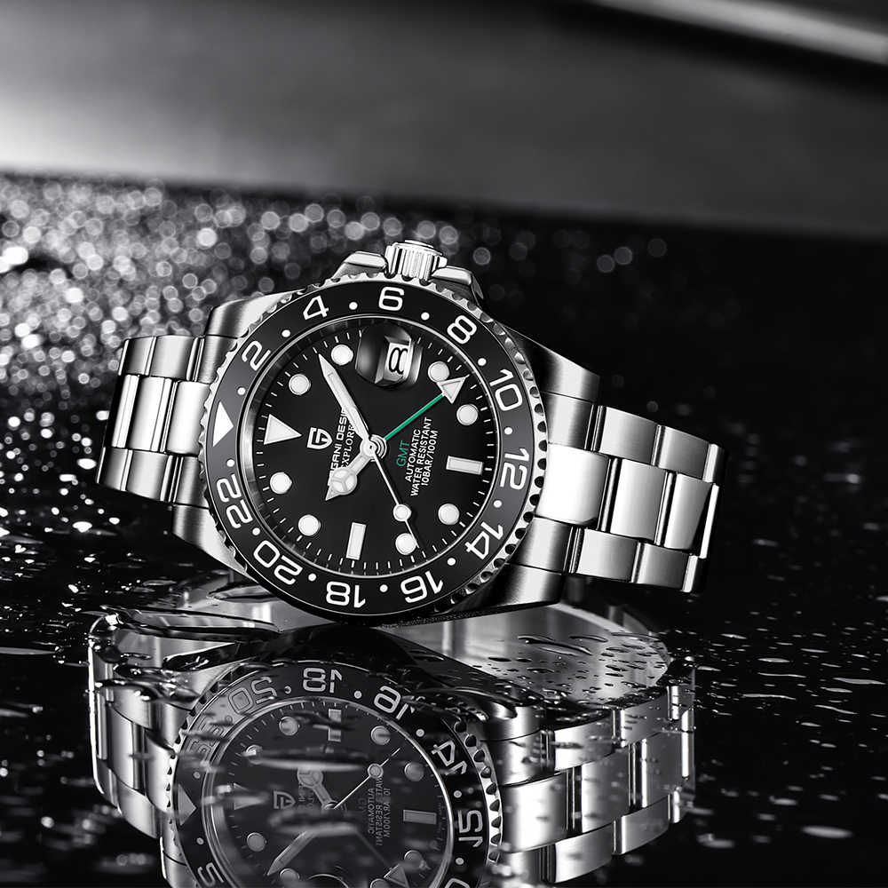 Pagani Desain Merek Sapphire Otomatis Watch Reloj Hombre Mewah Pria Mekanis Jam Tangan Stainless Steel GMT Watch Pria