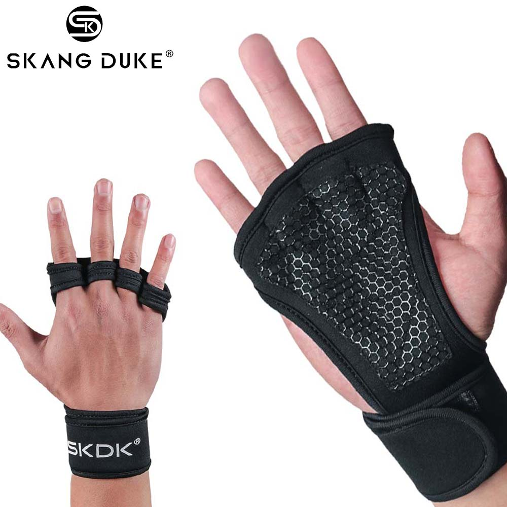 Weight Lifting Gloves Training Gym Grips Fitness Glove Women Men Crossfit Bodybuilding Gymnastics Wristbands Hand Palm Protector(China)
