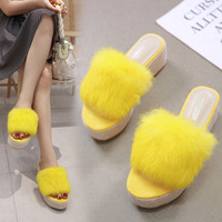 Woman Slippers Shoes Summer Platform Slides Flock Wedge Casual Beach Shoes High Heel 6CM Rabbit Hair Lady Shoes