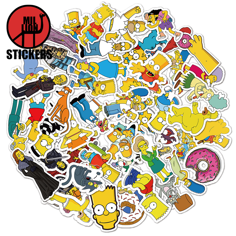 25/50pcs The Simpsons Laptop Stickers DIY Sticker For Kids Toys Bags Box Desk Phone Bicycle Waterproof Decals
