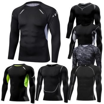 Men Compression Running T Shirt Fitness Tight Long Sleeve Sport tshirt Training Jogging Shirts Gym Sportswear Quick Dry rashgard 2