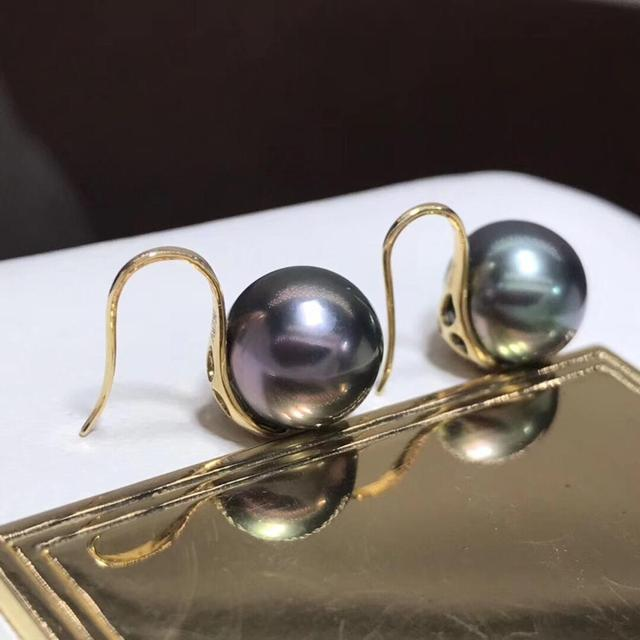 Fine Jewelry Pure 18 K Rose Gold 10mm Natural Tahiti Ocean Green Round Pearl Earrings for Women Fine Pearl Earrings 3
