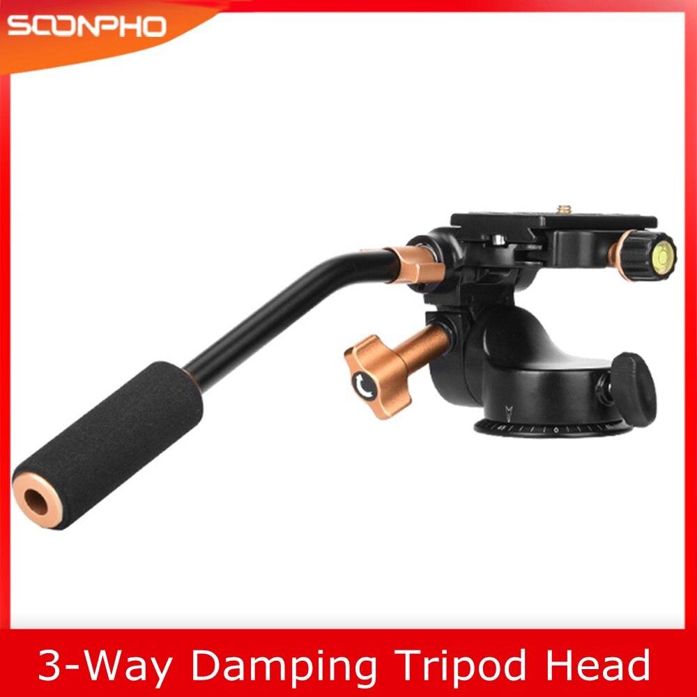 SOONPH 3-Way Fluid Head Video Tripod Ball Heads Q08S with Quick Release Plate Rocker Arm for DSLR Camera Tripod Monopod