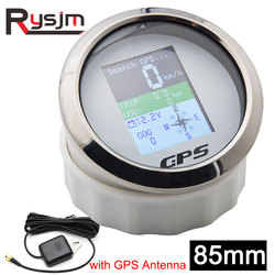 TFT Screen Digital GPS Speedometer Gauge 85mm MPH Knots Km/h adjusted with GPS Antenna for Boat Car Motorcycle Odometer