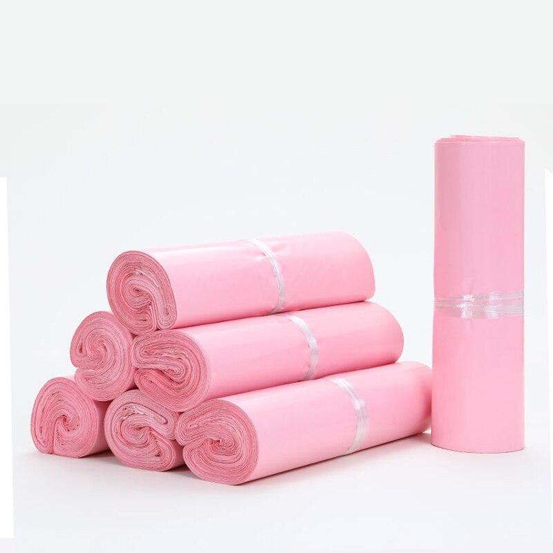50 шт./лот розовые прозрачные курьерские Упаковочные сумки, утолщенная сумка для хранения, водонепроницаемые сумки, полиэтиленовые конверты...