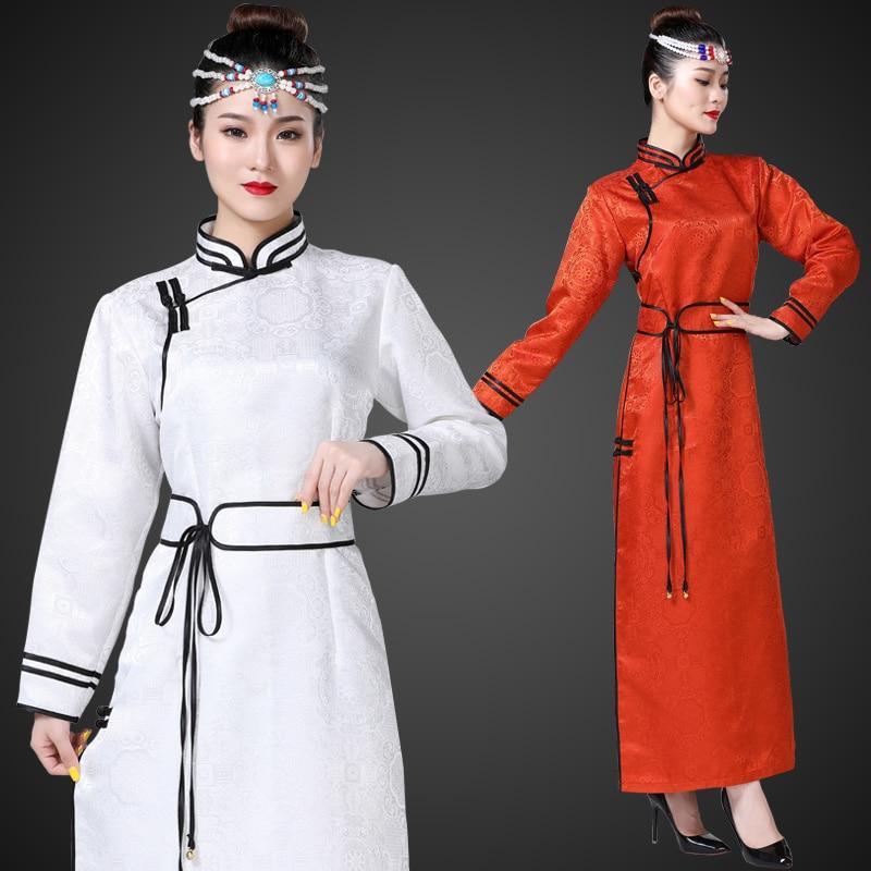 Blue White Long Mongolian Robe Women 2020 New Spring Side Opening Traditional Ethnic Dance Garment Mongolia Performance Costume