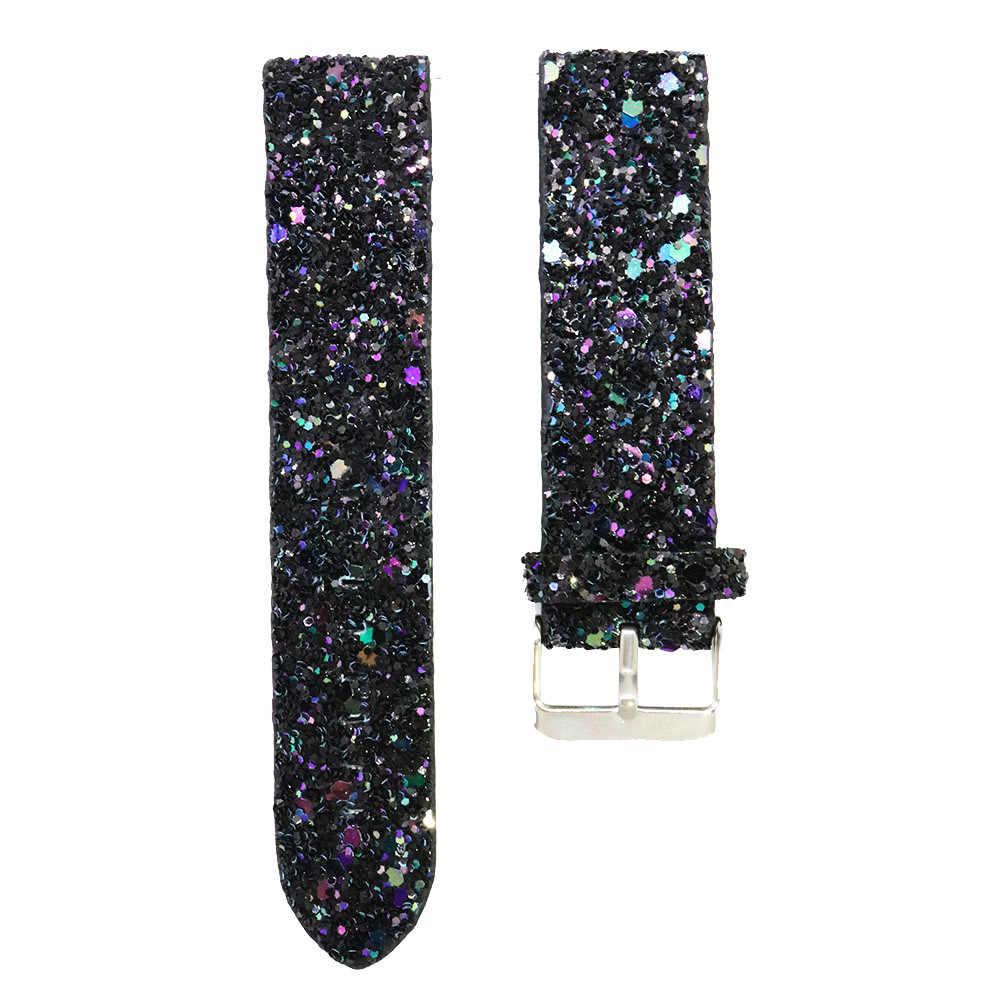 Bling skóra z brokatem zapasowy pasek na nadgarstek pasek do zegarka Fitbit Versa moda sportowa bransoletka akcesoria do smartwatcha