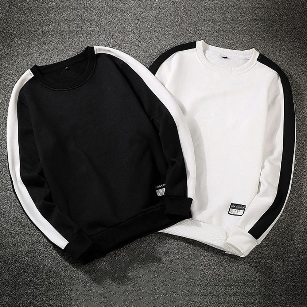 Schwarz weiß solide männer 2020 Lose beiläufige Sweatshirts männer Stil Casual Mode Patchwork Oansatz Lange SleevesTop Bluse hoodie