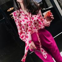 New Fashion Designer Sweety Bow Neck fucsia Heart Love Print camicetta donna Casual Office Lady camicie di Chiffon Top floreale