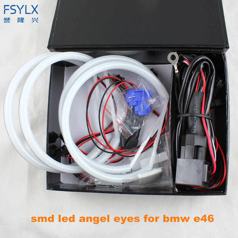 Ultra bright 4*131mm 3014 SMD LED Angel Eyes for BMW E46 E39 E38 E36 projector led headlight halo ring kit white for E46
