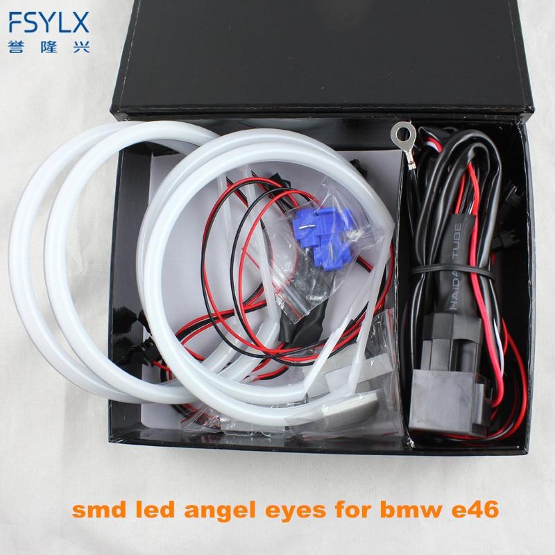 Ultra bright 4*131mm 3014 SMD LED Angel Eyes for BMW E46 E39 E38 E36 projector led headlight halo ring kit white for E46