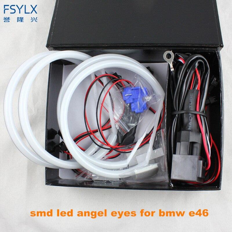 Ultra lumineux 4*131mm 3014 SMD LED yeux d'ange pour BMW E46 E39 E38 E36 projecteur phare LED kit anneau halo blanc pour E46
