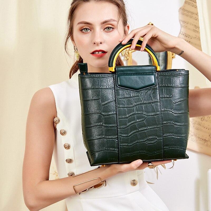 Qiwang mała torebka dla kobiet zielony dużego ciężaru torby na ramię z prawdziwej skóry krokodyla kobiet torebki skórzane damskie torebki luksusowe torebki designerskie kobiet w Torby z uchwytem od Bagaże i torby na  Grupa 1