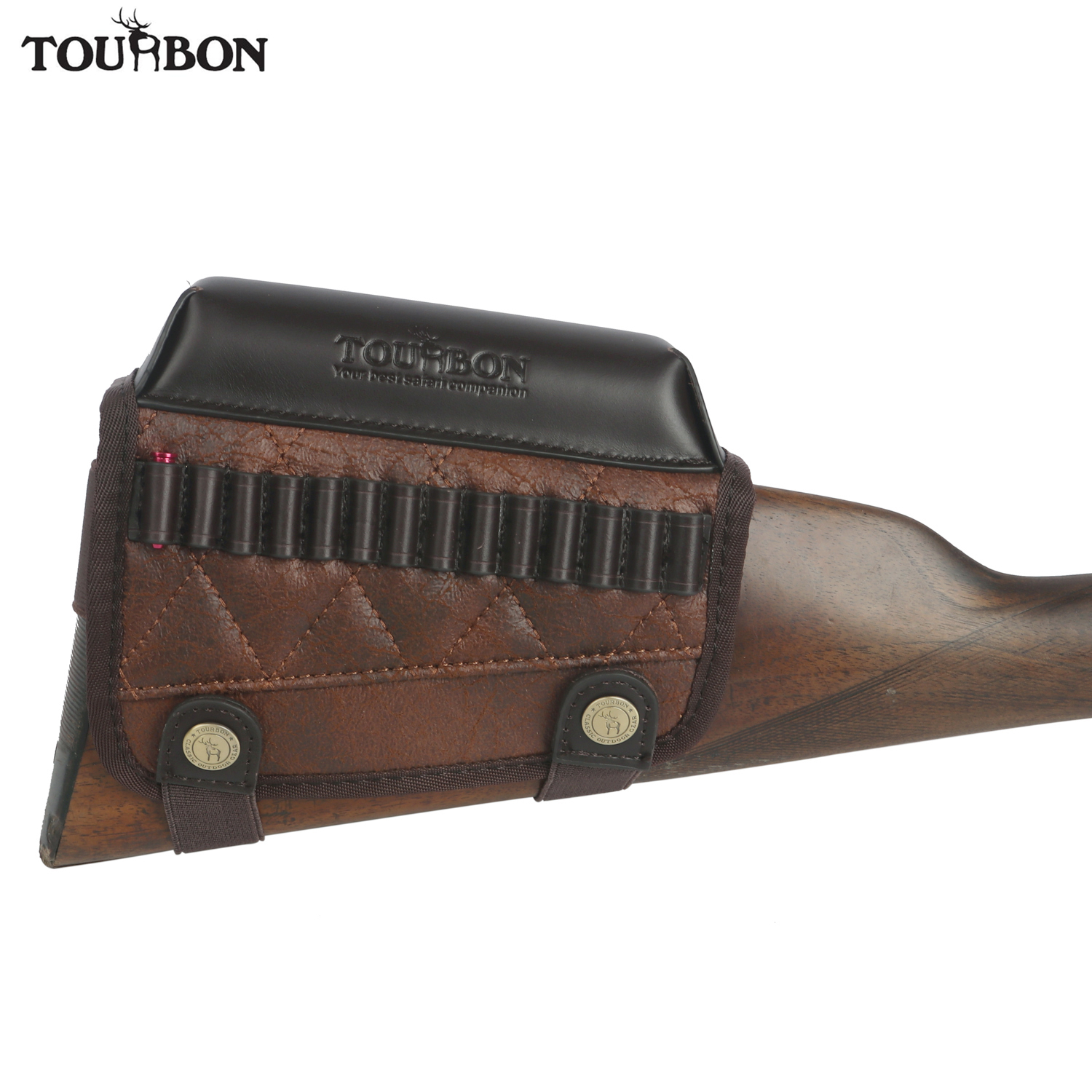 Tourbon Hunting Rimfire Rifle .22 LR /17 HMR Cartridges Bullet Ammo Holder Gun Buttstock Cheek Rest Riser Pad Shooting Accessory