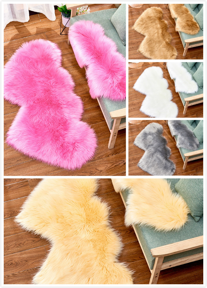 Sholisa Shaggy Shag Floor Area Rugs Faux Fur Double Heart Shape 6cm Pile Fluffy Carpet For  Seat Chair Pad Home Deco Tapetes Vlo