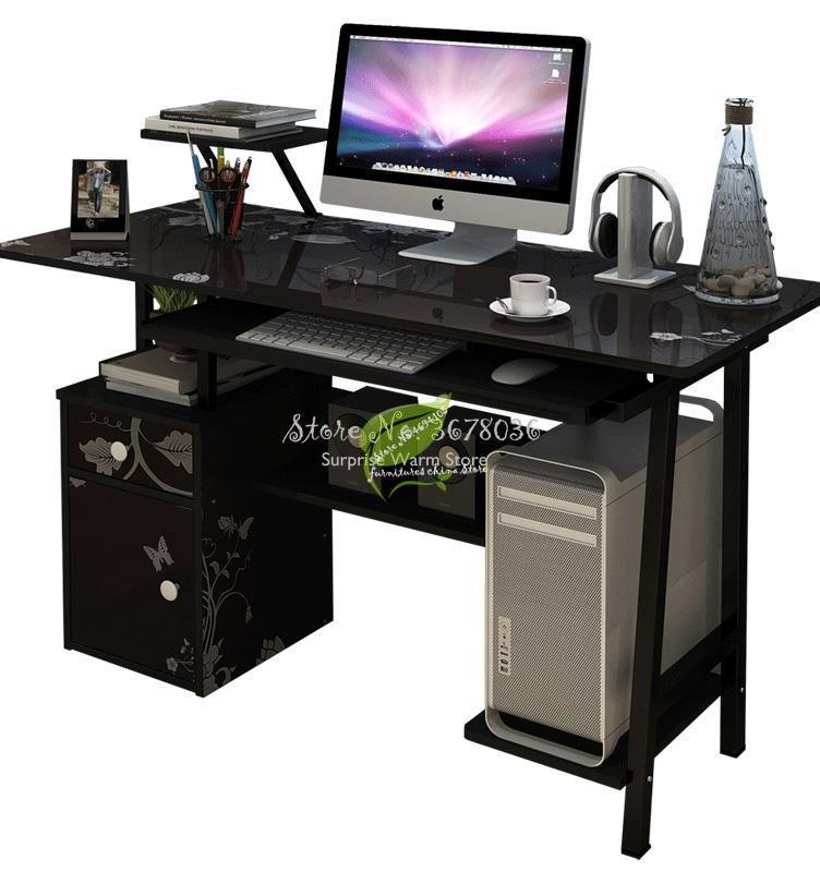 Large Computer Table Professional Gaming Table With Locker Drawer Wood Desktop Computer Desk For Home Office