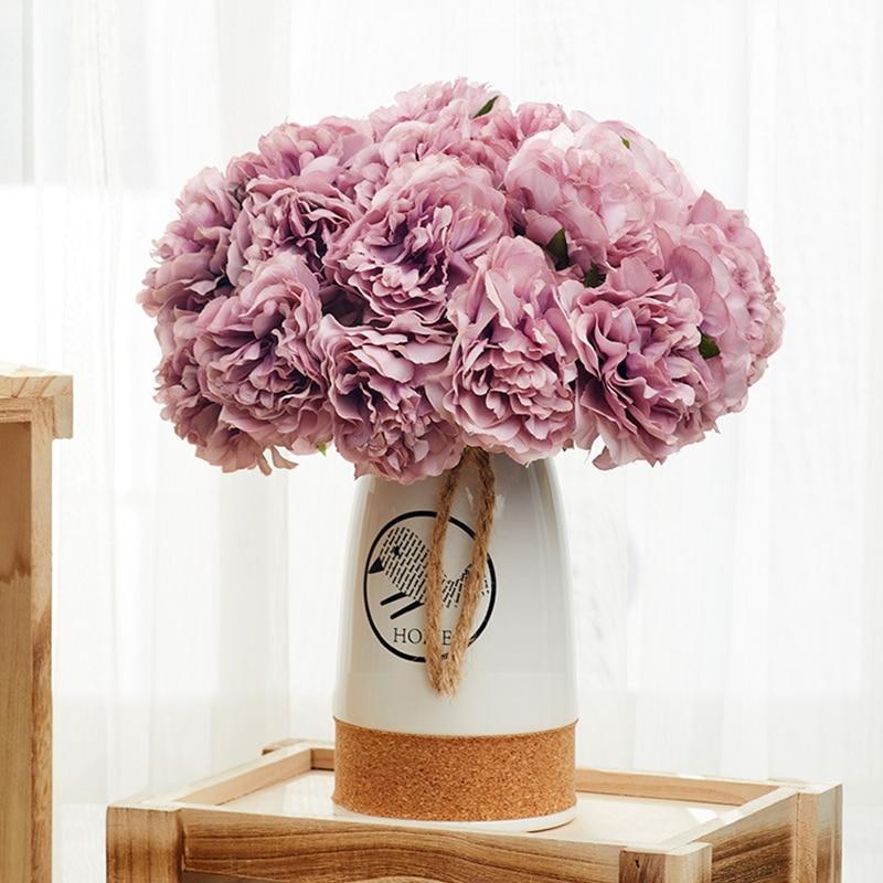 5 шт. Шелковый Искусственный Пион Букет цветов Свадебные домашнего декора гостиной осенние Декоративные искусственные цветы набор «сделай ...