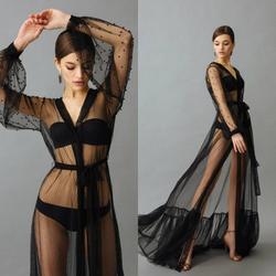 Прозрачный черный ночной халат с бусинами, сексуальный женский халат с длинными рукавами, вечерние пижамы, ночная рубашка невесты, халаты н...