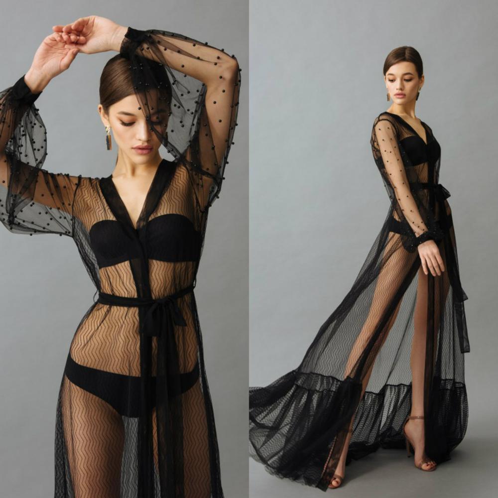 See Through Black Night Robe With Beads Sexy Long Sleeves Women Bathrobe Party Sleepwear Bridal Nightgown Robes Custom Made