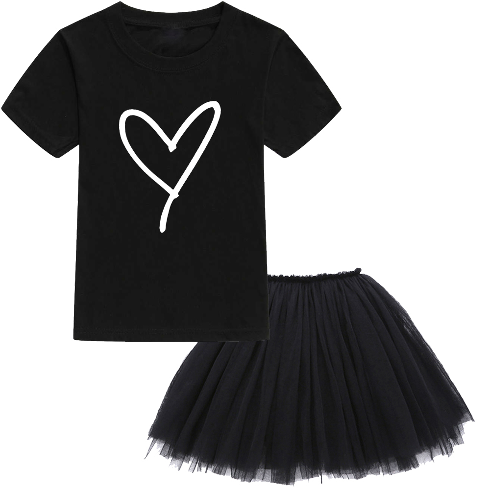 Heart <font><b>Graphic</b></font> Print <font><b>Tshirt</b></font> Tutu <font><b>Dress</b></font> Set Girls Summer Cute Casual Clothes Set Wear Fashion Style Toddler Baby Skirts Set image