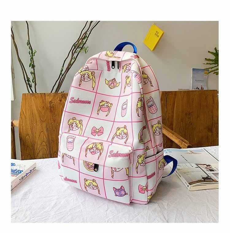 Mochila Ougger kawaii bolso escolar femenino para niñas adolescentes gran lienzo Rosa lindo último modelo de dibujos animados bolsos deportivos para exteriores